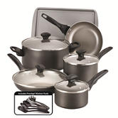 Farberware 15-pc. Grey Cookware Set