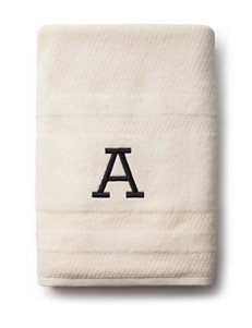 Peri Ivory Bath Towels Monogram Towels