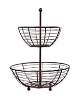 Home Essentials 2-Tier Bronze-Tone Kitchen Basket
