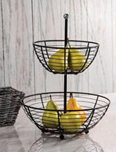 Home Essentials 2-Tier Black-Tone Metal Basket