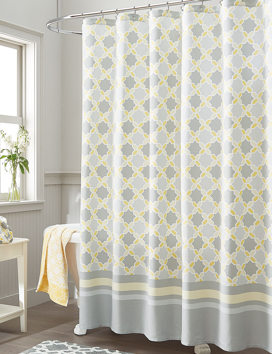 Style Lounge Yellow/ Grey Shower Curtains & Hooks