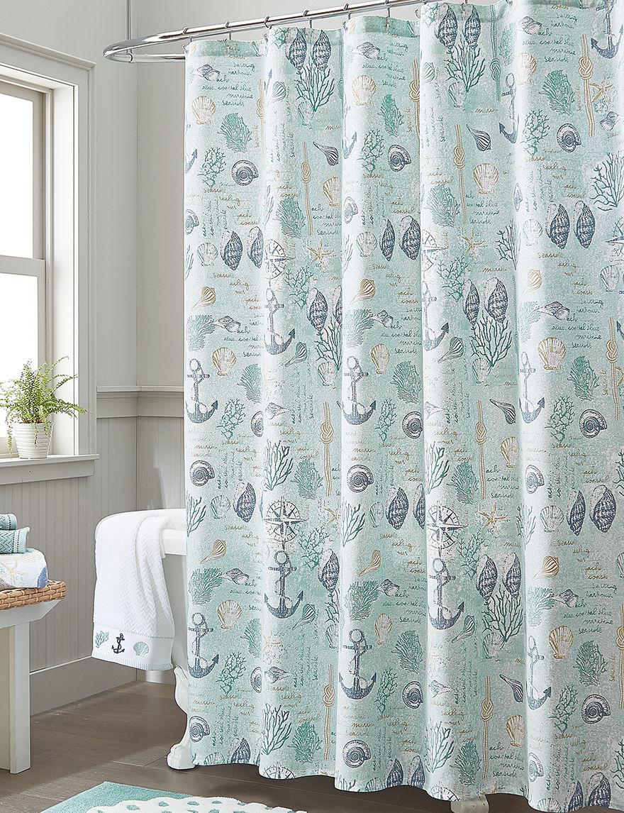 Destinations Sea Foam Shower Curtains & Hooks