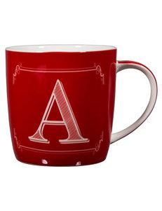 Home Essentials Red / White Monogram Mugs