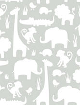 Wall Pops Grey Its A Jungle In Here Peel & Stick Wallpaper