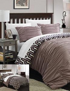 Chic Home Design Elisha 3-pc. Reversible Brown Creased Duvet Cover Set