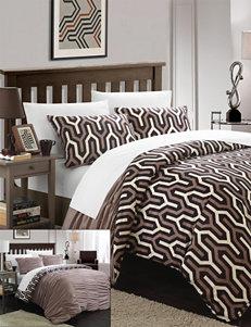 Chic Home Design Elisha 7-pc. Reversible Brown Creased Duvet Cover Set