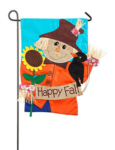 Evergreen Scarecrow Garden Applique Flag