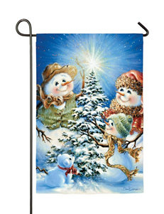 Evergreen Snow Family Garden Flag