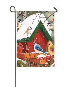 Evergreen Wintery Feast Garden Flag