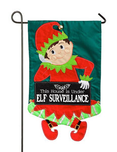 Evergreen Elf Surveillance Garden Flag