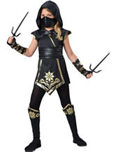10-pc. Black & Gold Kids Ninja Costume