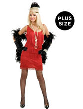 Red Fashion Flapper Plus-size Costume