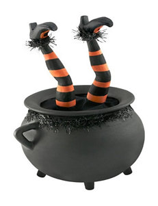 Motion Activated Cauldron with Witch Legs Prop Decoration