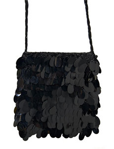 Black Sequin Flapper Handbag