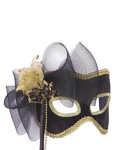 Black & Gold Floral Embellished Mask