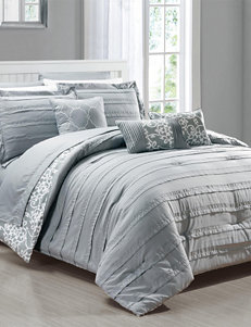 Chic Home Design Zarina Grey Trellis Scroll Print Reversible Comforter Set