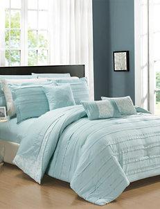 Chic Home Design Zarina Aqua Trellis Scroll Print Reversible Comforter Set