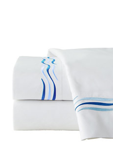 Pointehaven 4-pc. 300 Thread Count Royal Blue Wave Embroidered Sheet Set