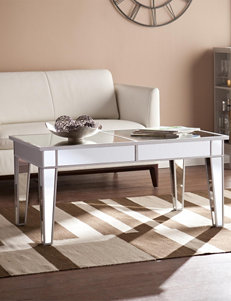 Southern Enterprises Mirage Mirrored Silver-Tone Cocktail Table