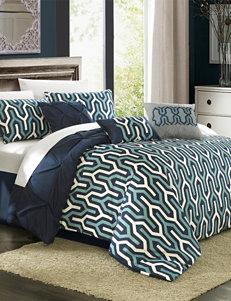Chic Home Design Bib Trefort Navy Geo Print Reversible Comforter Set