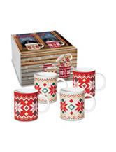 Konitz 4-pk. Fair Isle Print Holiday Mugs