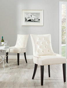 Safavieh 2-pc. Abby Bicast Leather Tufted Chair Set