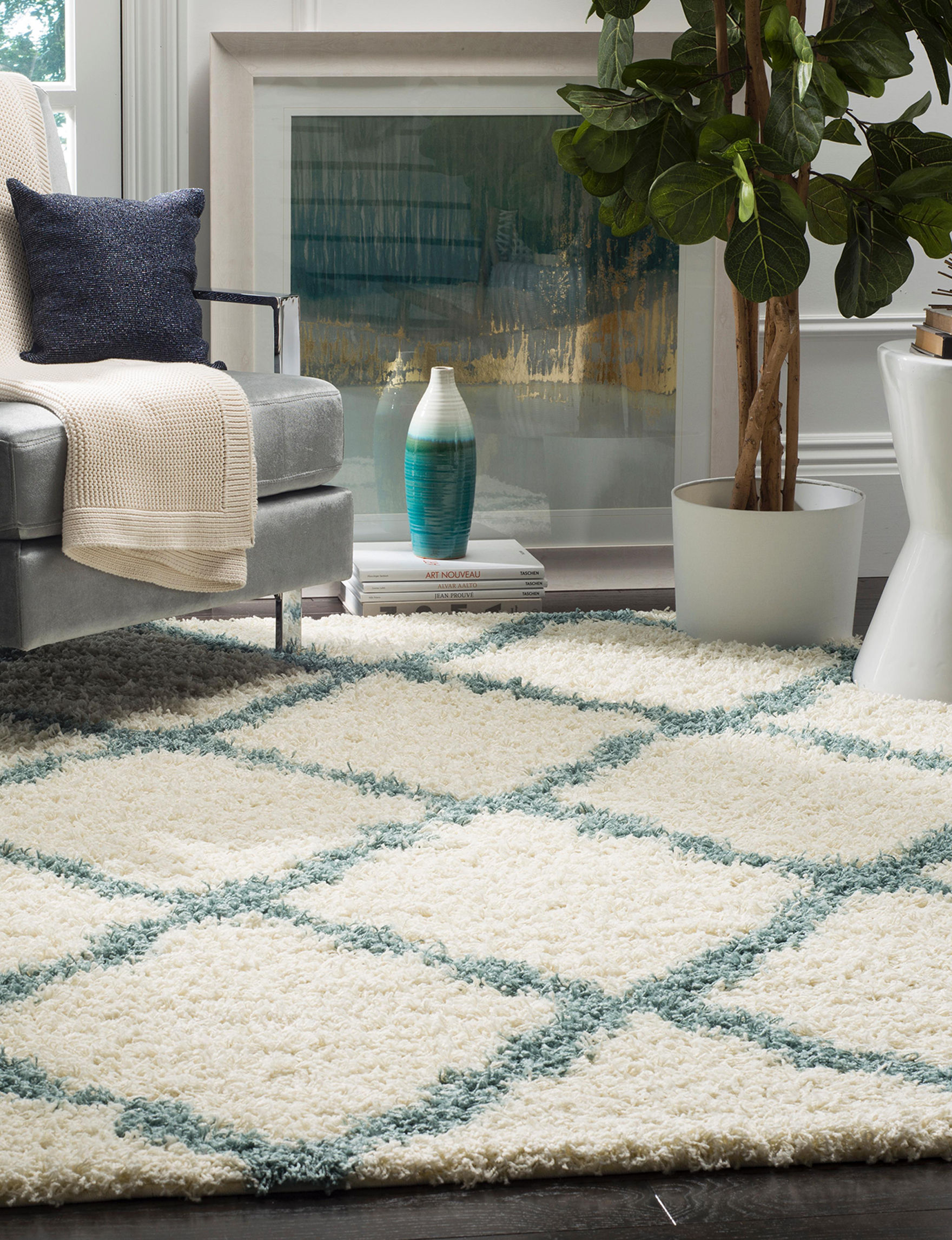 Safavieh Ivory/Blue Accent Rugs Area Rugs Runners Rugs