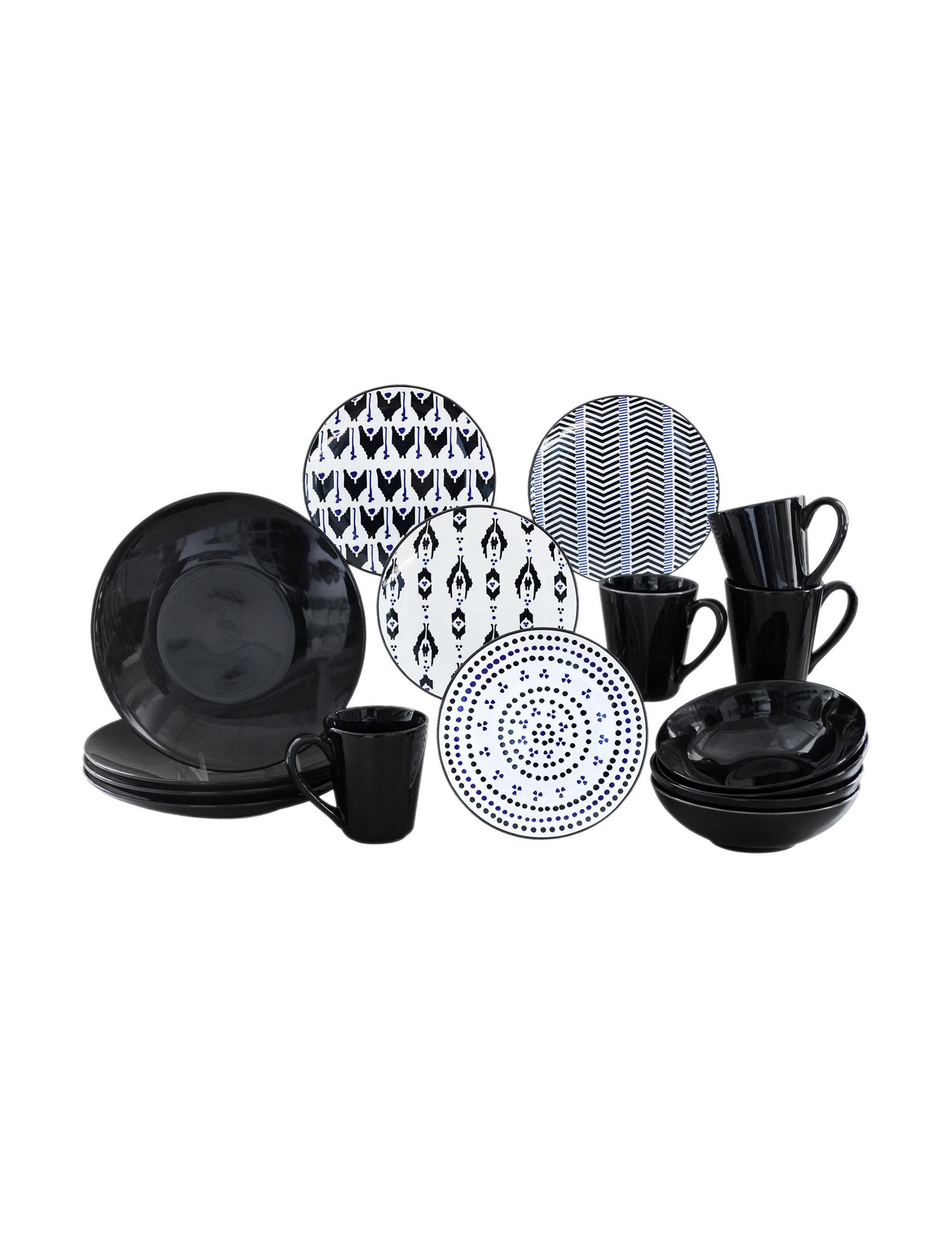 Baum Bros Imports Black / White Dinnerware Sets Dinnerware