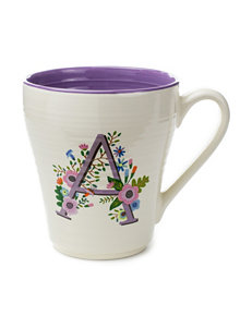 Tri Coastal White / Purple Monogram Mugs Drinkware
