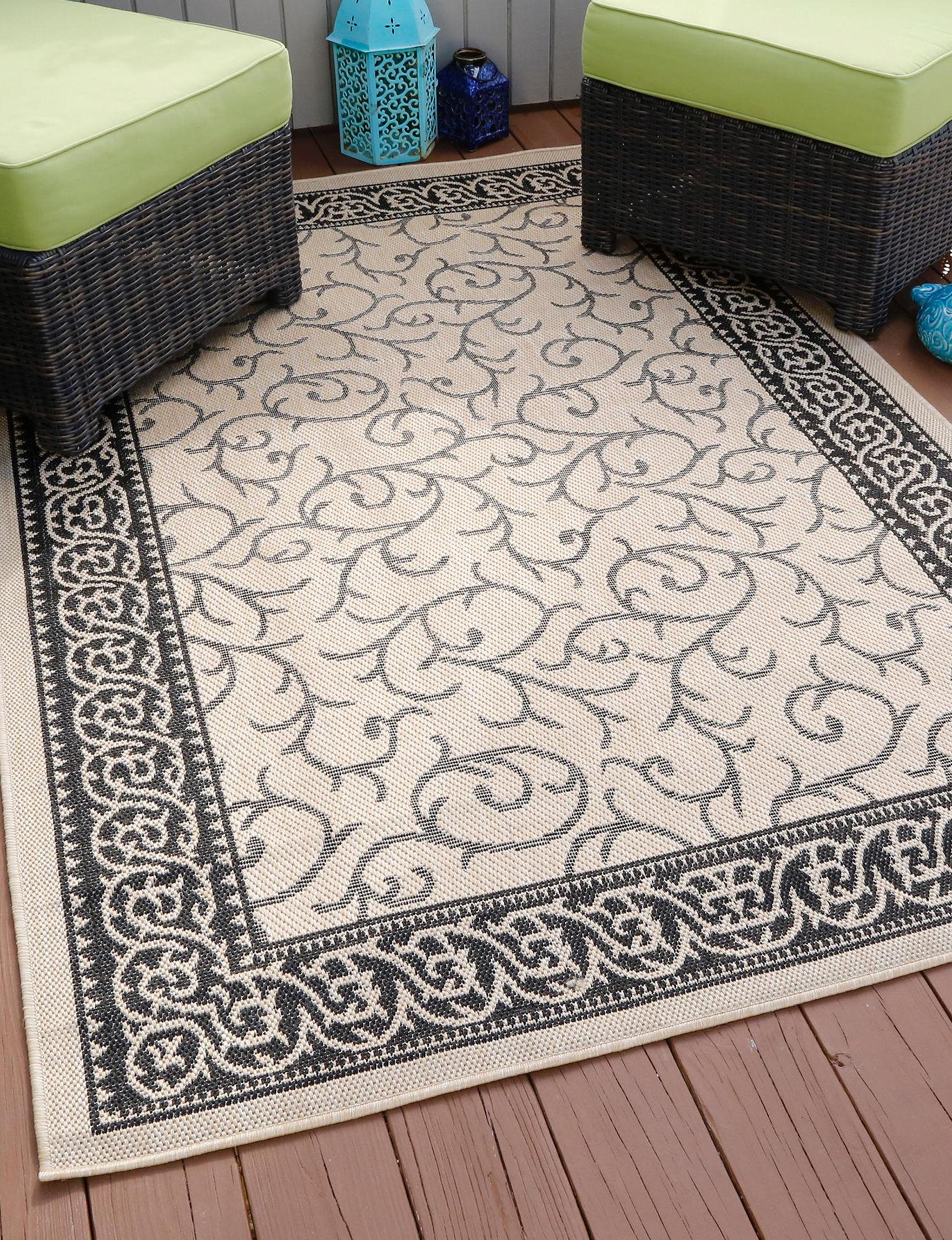 Lavish Home Black / Cream Area Rugs Rugs