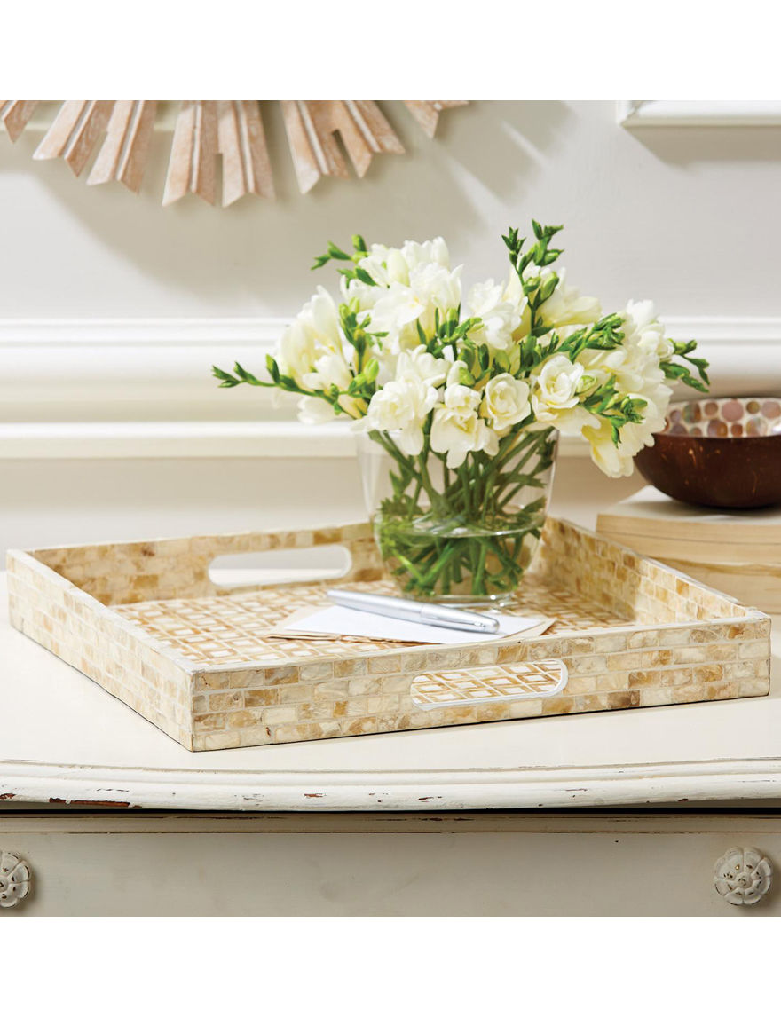 Two's Company Tan / White Decorative Trays Home Accents