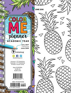TFI Publishing Pineapple Color Me 2018 Academic Year Weekly & Monthly Planner