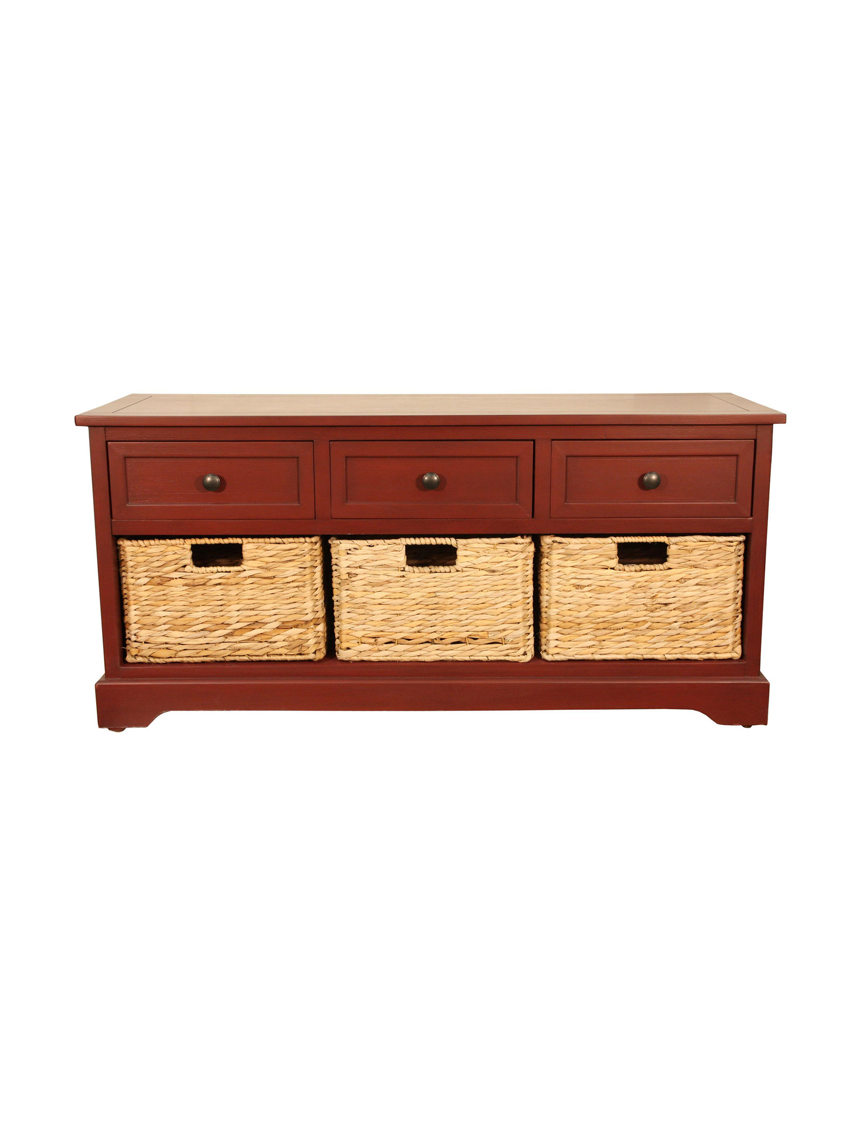 Decor Therapy Red Ottomans & Benches Bedroom Furniture Entryway Furniture Home Office Furniture Living Room Furniture