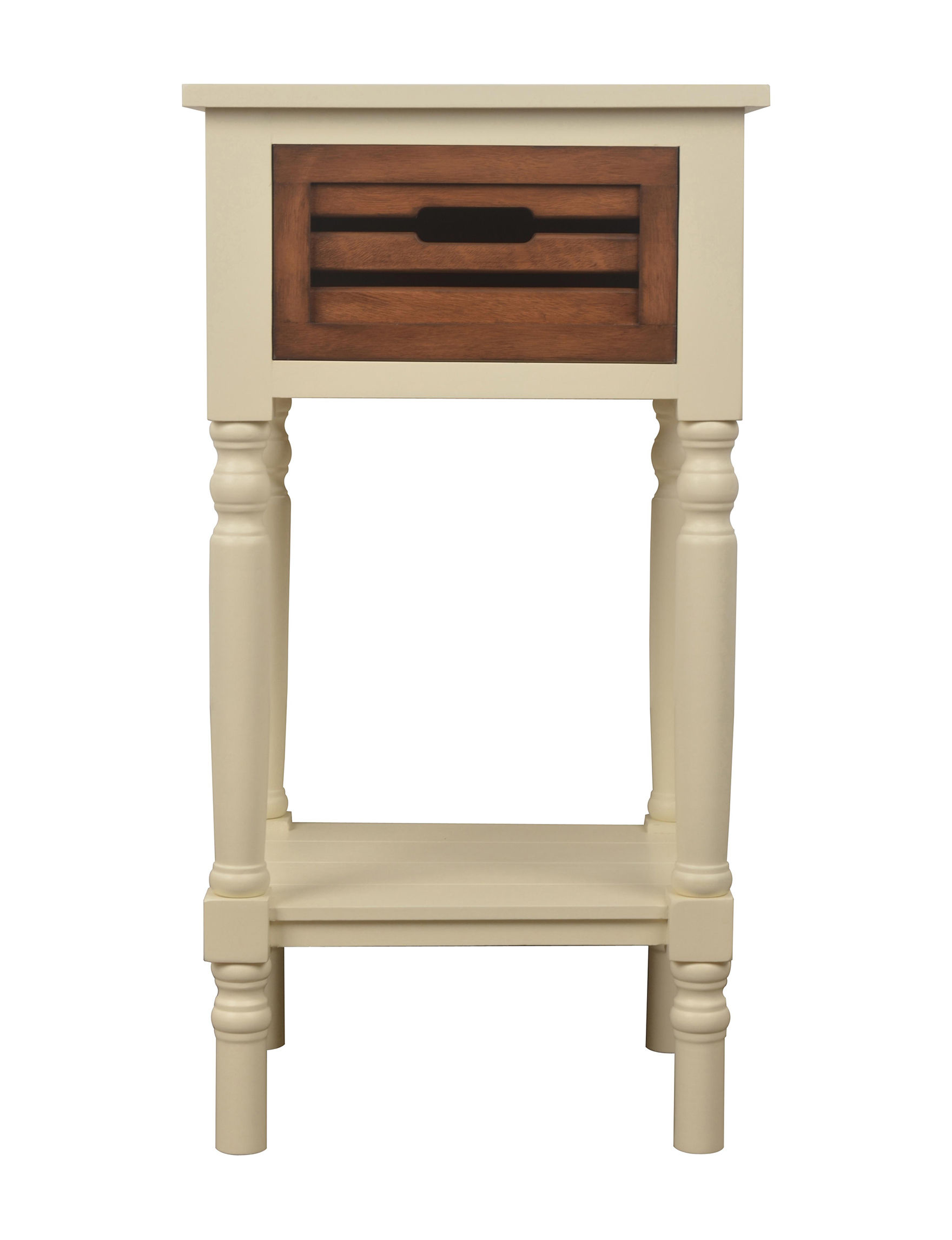 Decor Therapy White / Brown Accent & End Tables Night Stands Bedroom Furniture Entryway Furniture Home Office Furniture Living Room Furniture