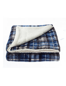 Great Hotels Collection Navy Plaid Blankets & Throws