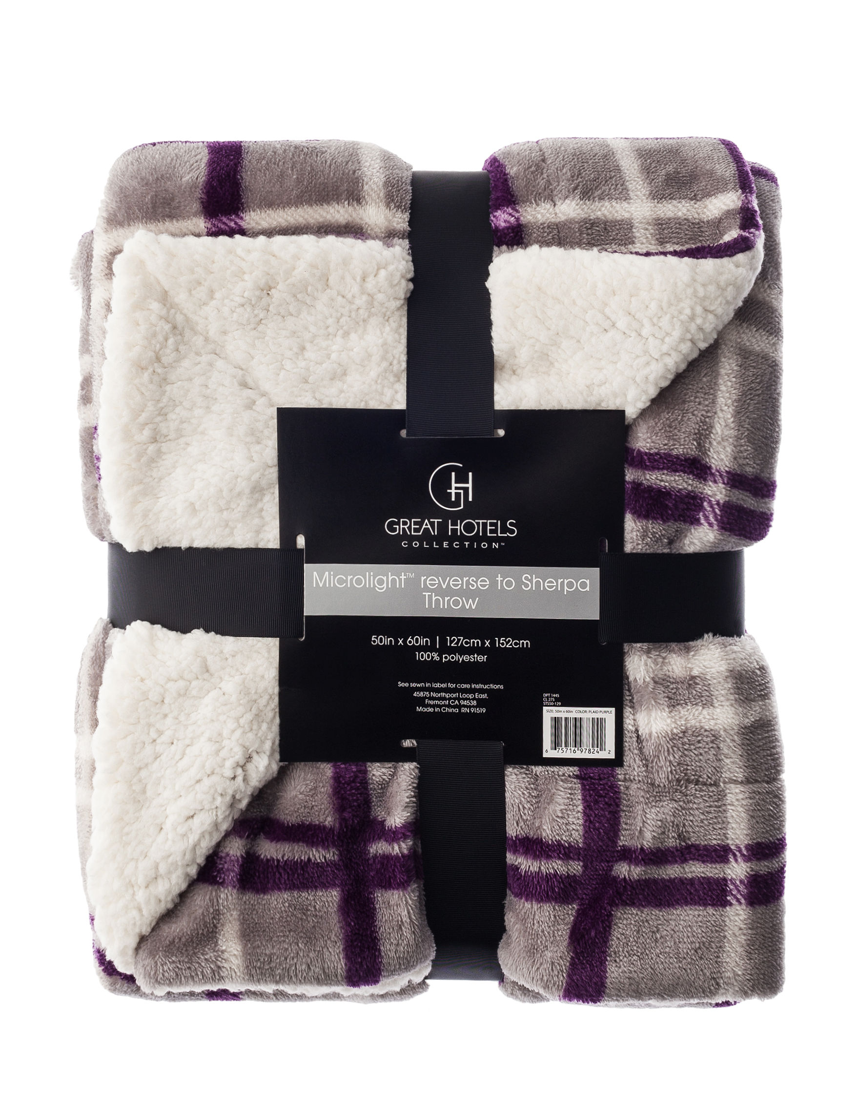 Great Hotels Collection Purple Plaid Blankets & Throws