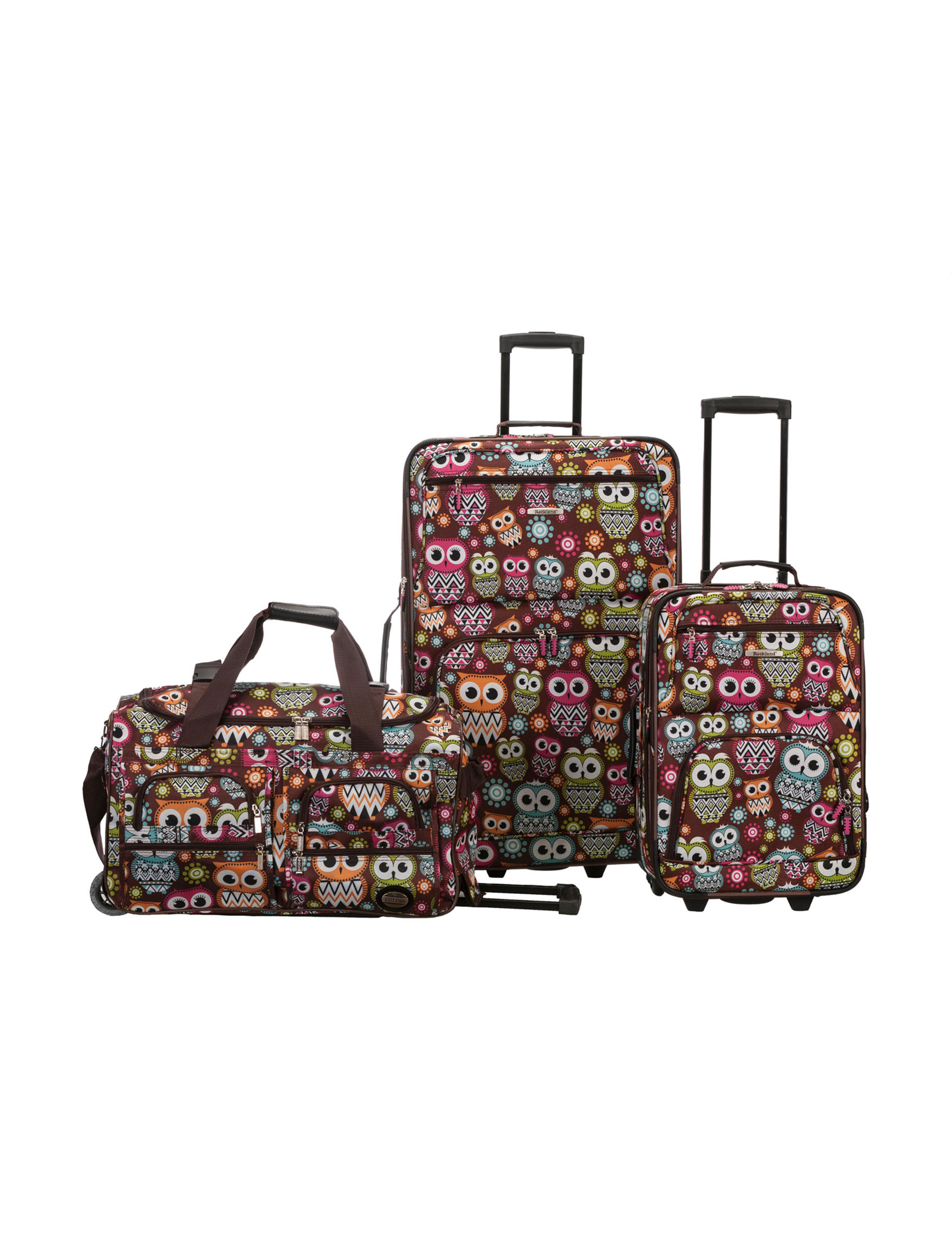 Rockland Brown / Multi Luggage Sets