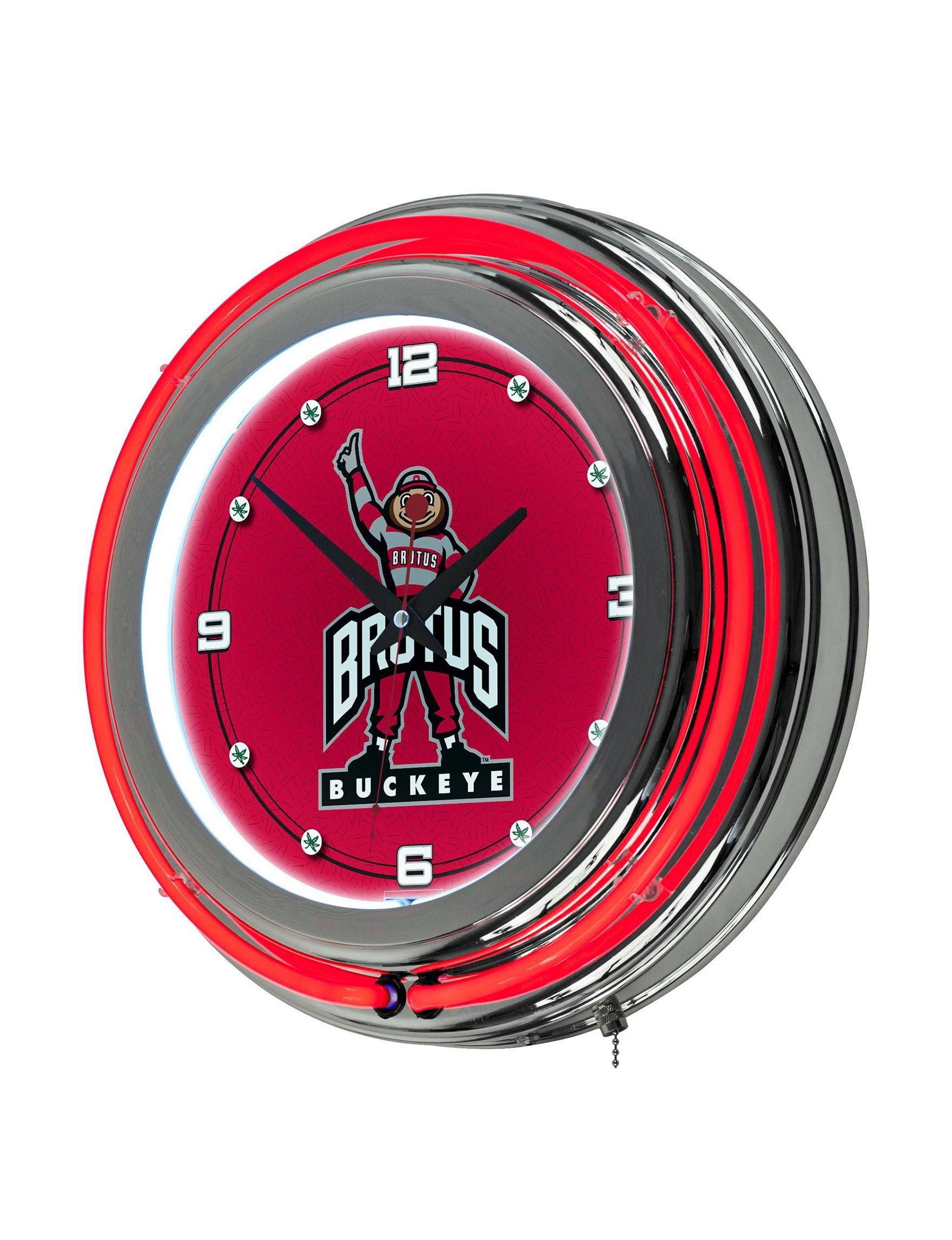 NCAA Red Decorative Objects Wall Art Wall Clocks Home Accents NCAA Wall Decor