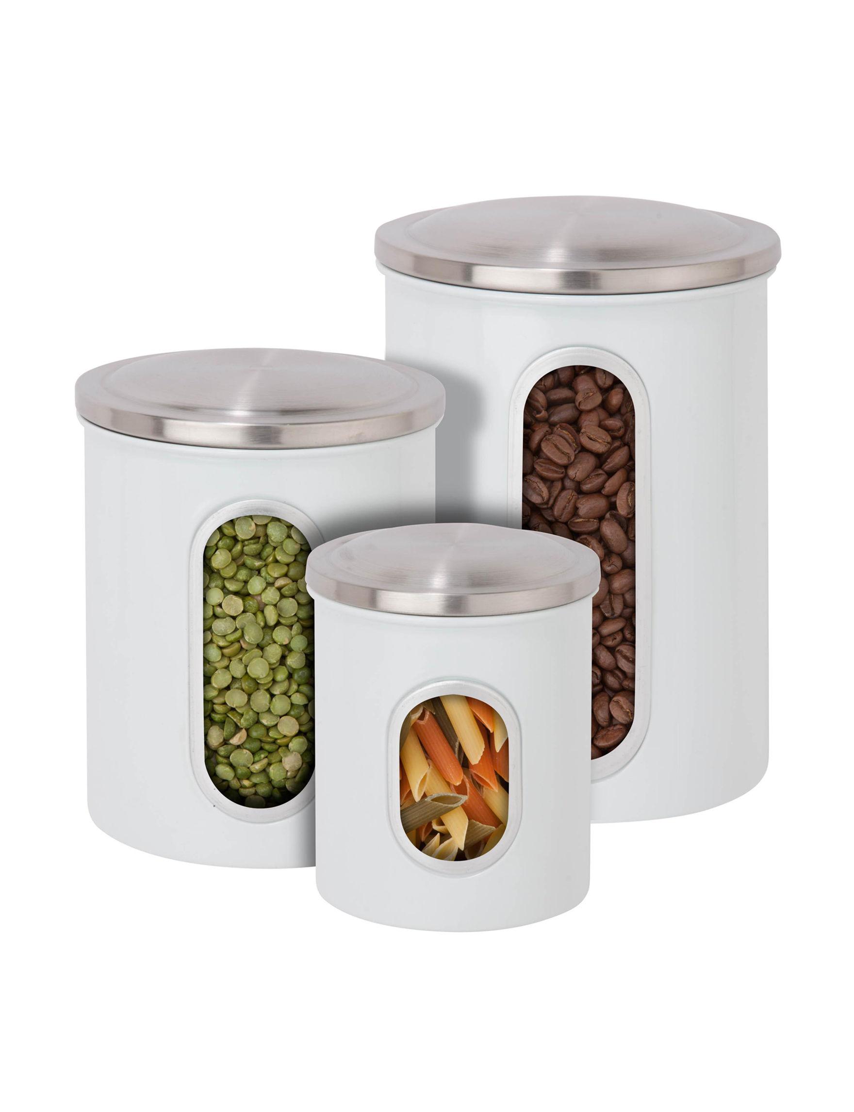Honey-Can-Do International White Canister Sets Kitchen Storage & Organization