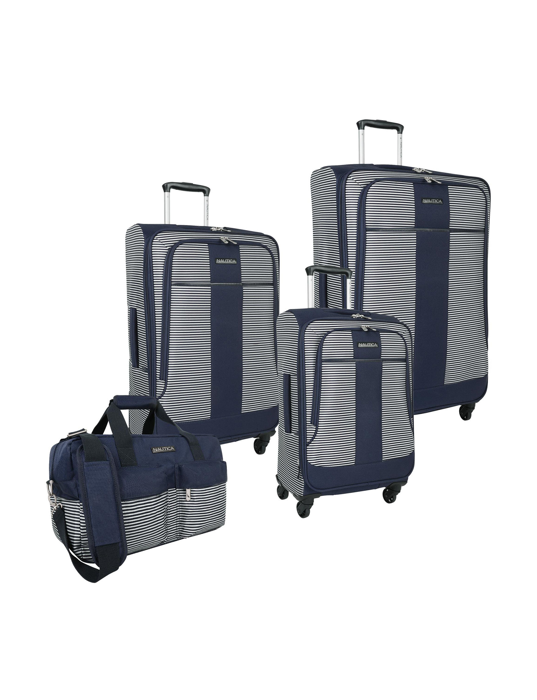 Nautica Navy / White Luggage Sets Upright Spinners