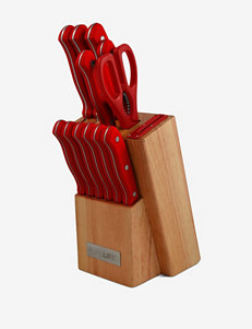 Pure Life 12-pc. Knife Block Set with Red Handles