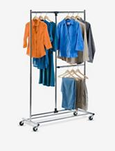 """Honey-Can-Do 80"""" Dual Bar Chrome Adjustable Garment Rack"""