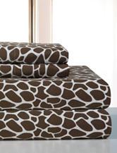 Pointehaven Giraffe Print Flannel Sheet Set