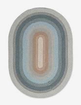 Nourison Craftworks Border Blue Oval Rug