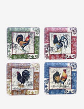 Certified International Lille Rooster 4-pc. Salad Plate Set