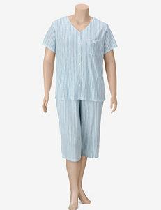 Karen Neuburger Plus-size  2-pc. Blue Stripe Print Pajama Capris Set