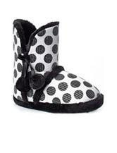 PJ Couture Polka Black & White Polka Dot Sequin Boot Slippers