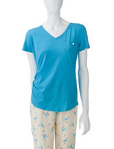 Jockey® Blue V-Neckline Pocket Pajama Top – Misses