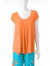 Hue® Orange Pleated Front Pajama Top –Misses