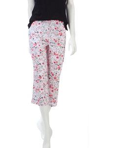 Jockey Pink & Black Floral Print Pajama Capris –Misses